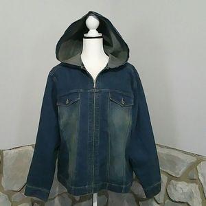 NWOT LA Blues stretch denim zip-up hooded jacket